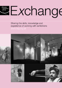 Front cover of Exchange Autumn 2008 with various black and white photographs on pink background