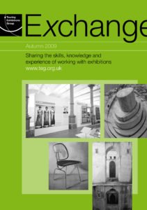 Front cover of Exchange Autumn 2009 with various black and white images on green background