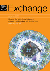 Front cover of Exchange Autumn 2012 with cut out photograph of a flower patterned plate with illustration of a bird with a nest with four blue eggs inside on orange background