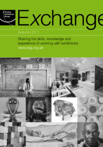 Front cover of Exchange Autumn 2011 with various black and white photographs on green background