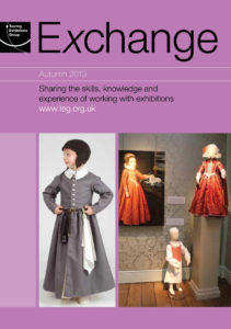 Front cover of Exchange Autumn 2013 with various photographs of children in period costumes on purple background