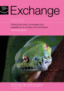 Front cover of Exchange Autumn 2015 with photograph of a snake on pink background
