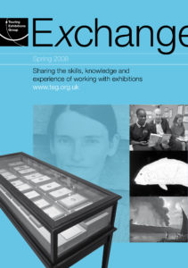Front cover of Exchange Spring 2008 with various back and white photographs, large image of a woman's face on blue background