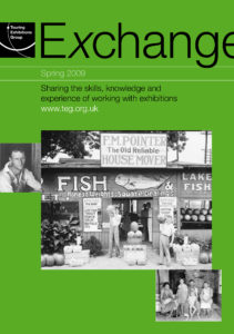 Front cover of Exchange Spring 2009 with black and white photograph of a fish shop on green background
