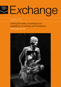 Front cover of Exchange Spring 2012 with photograph of crouching human body in decay on orange background