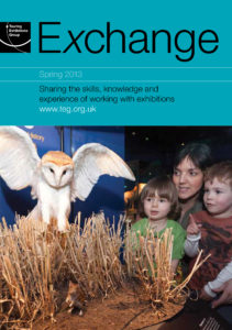 Front cover of Exchange Spring 2013 with photograph of owl spreading it's wings and woman and children watching on blue background