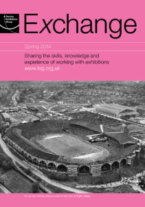 Front cover of Exchange Spring 2014 with black and white photograph of a bird's eye view of a stadium on pink background