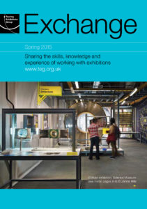 Front cover of Exchange Spring 2015 with photograph of a factory interior on blue background
