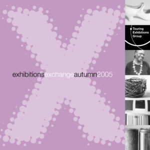 Front cover of Exchange Autumn 2005 purple background with large letter X with various black and white images running down the right hand side