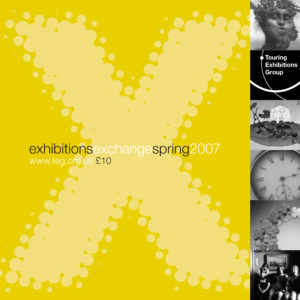 Front cover of Exchange Spring 2007 yellow background with large letter X with various black and white images running down the right hand side
