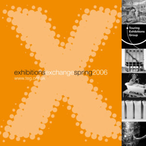 Front cover of Exchange Spring 2006 orange background with large letter X with various black and white images running down the right hand side