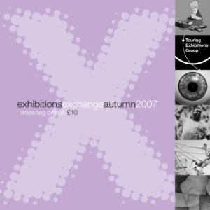 Front cover of Exchange Autumn 2007 purple background with large letter X with various black and white images running down the right hand side